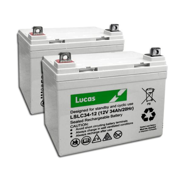 Two Lucas 34AH Batteries, Includes Fitting