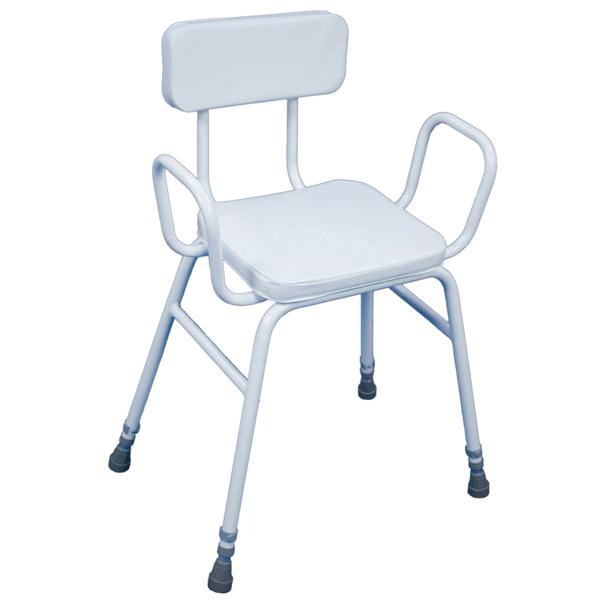 Perching Stool With Arms & Padded Backrest