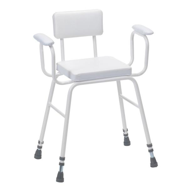 Perching Stool With Padded Arms & Backrest